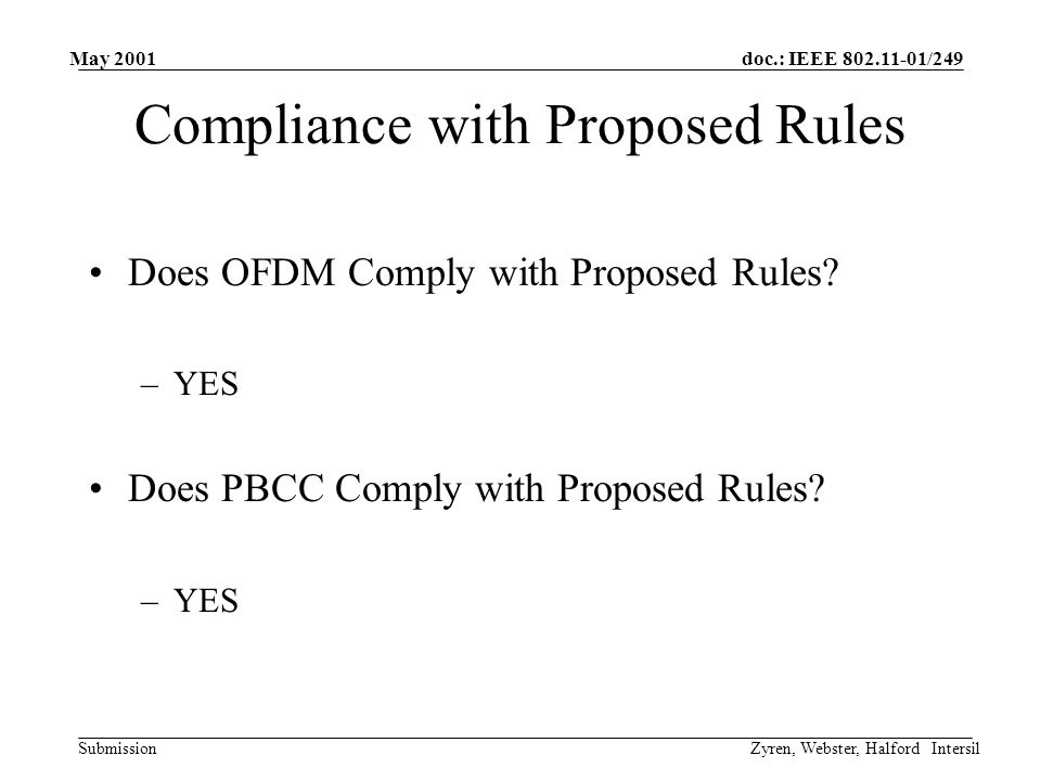 doc.: IEEE 802.11-01/249 Submission May 2001 Zyren, Webster, Halford Intersil Compliance with Proposed Rules Does OFDM Comply with Proposed Rules.