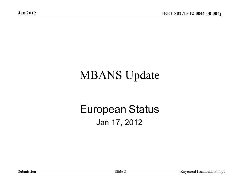 IEEE 802.15-12-0041-00-004j SubmissionRaymond Krasinski, PhilipsSlide 2 MBANS Update European Status Jan 17, 2012 Jan 2012