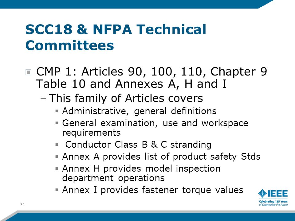 32 SCC18 & NFPA Technical Committees CMP 1: Articles 90, 100, 110, Chapter 9 Table 10 and Annexes A, H and I –This family of Articles covers  Adminis