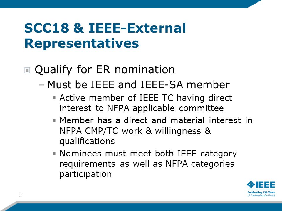 55 SCC18 & IEEE-External Representatives Qualify for ER nomination –Must be IEEE and IEEE-SA member  Active member of IEEE TC having direct interest