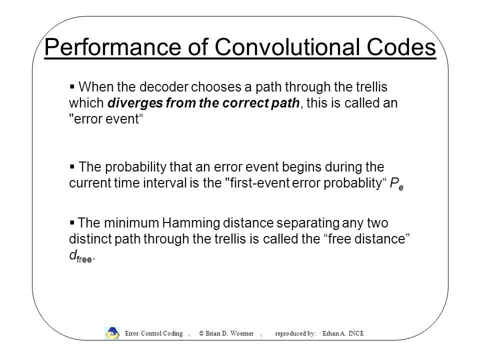Performance of Convolutional Codes Error Control Coding, © Brian D.