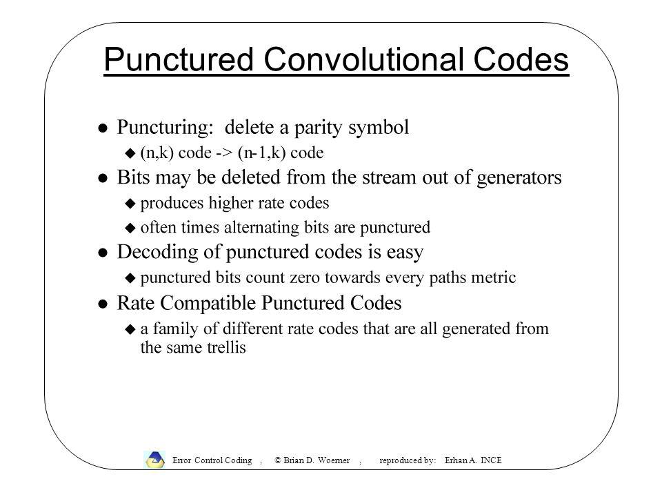 Punctured Convolutional Codes Error Control Coding, © Brian D.