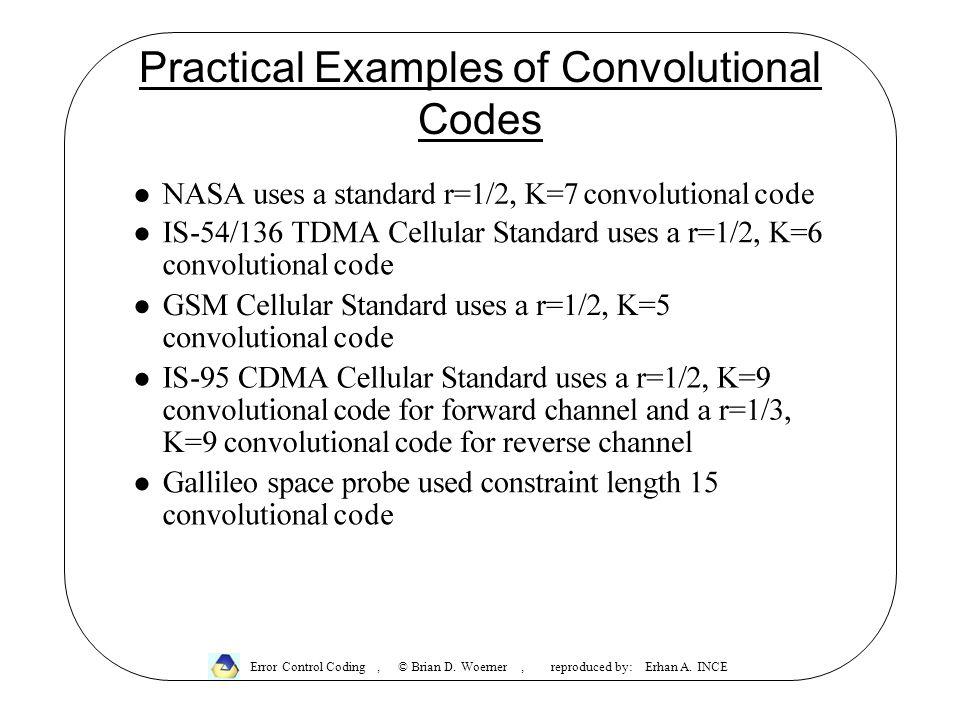 Practical Examples of Convolutional Codes Error Control Coding, © Brian D.