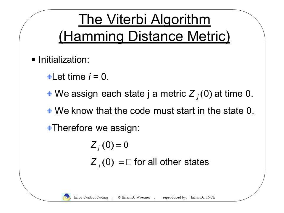 The Viterbi Algorithm (Hamming Distance Metric) Error Control Coding, © Brian D.