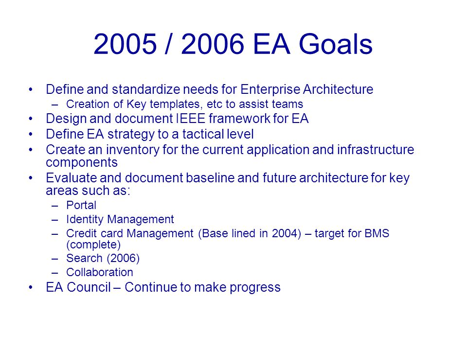 BMS – EA Accomplishments Consolidation of Membership applications –ICSS, Sisyphus Developing common data vocabulary –Data Cleansing, Migration and mapping Moving towards 360 degree customer view Developing common web services –Re-usable across departments Credit card management, Member Profile, Fulfillment, Siebel to Oracle integration, Tax services