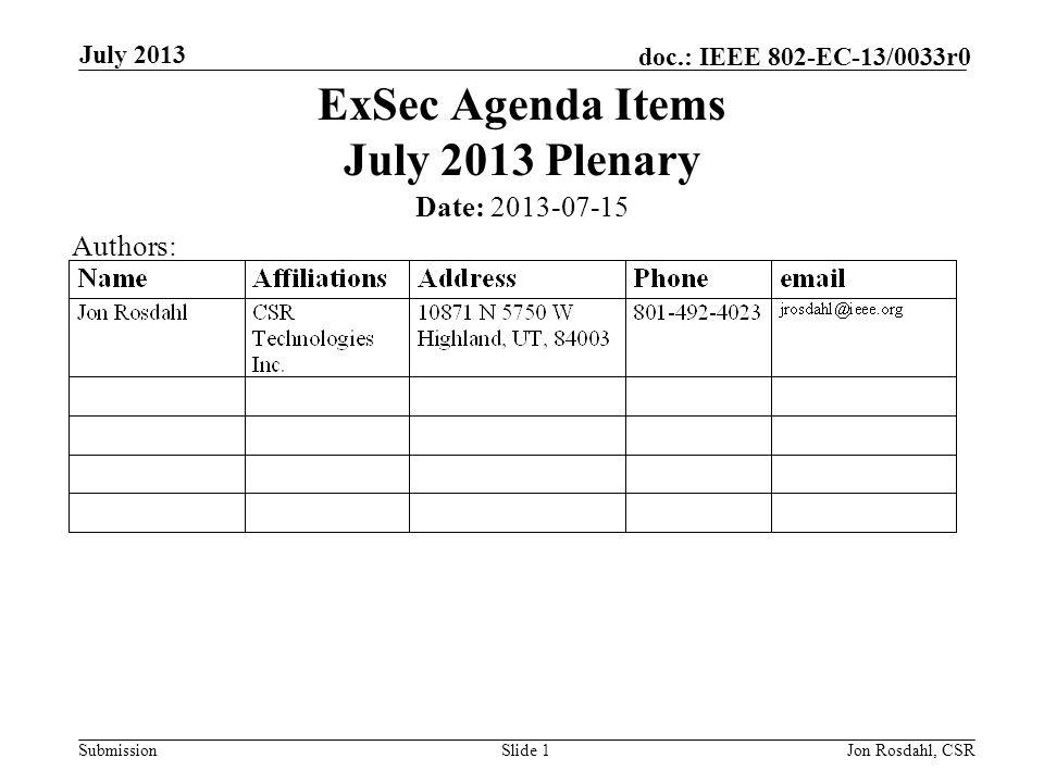 Submission doc.: IEEE 802-EC-13/0033r0 July 2013 Jon Rosdahl, CSRSlide 2 Abstract Agenda Items from the IEEE 802 Executive Secretary for the IEEE 802 March 2013 Plenary Monday: 5.15 II Future venue contract status & Vendor Contract Renewal Statu s 5.16 II Geneva 2013 Expectation Friday: 4.02 MI Future Venues 9.03 II Executive Secretary report 9.xx II Call for Tutorials: November 9.xx II EC Interim Telecon: Oct 1.