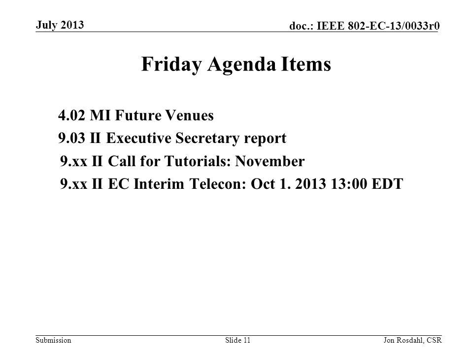 Submission doc.: IEEE 802-EC-13/0033r0 Friday Agenda Items 4.02 MI Future Venues 9.03 II Executive Secretary report 9.xx II Call for Tutorials: November 9.xx II EC Interim Telecon: Oct 1.