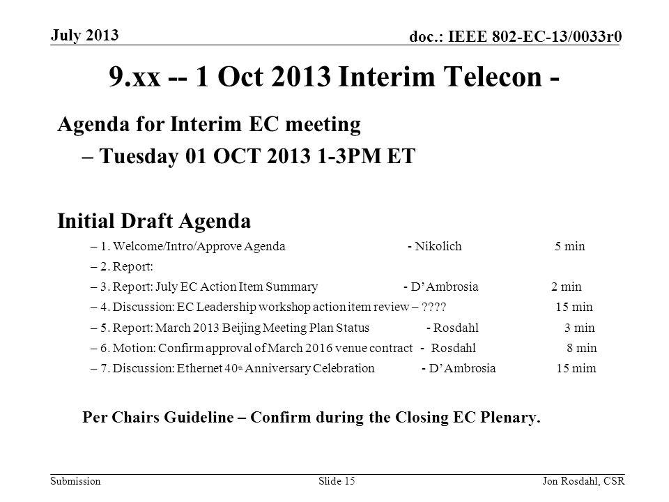 Submission doc.: IEEE 802-EC-13/0033r0 9.xx -- 1 Oct 2013 Interim Telecon - Agenda for Interim EC meeting – Tuesday 01 OCT 2013 1-3PM ET Initial Draft Agenda – 1.