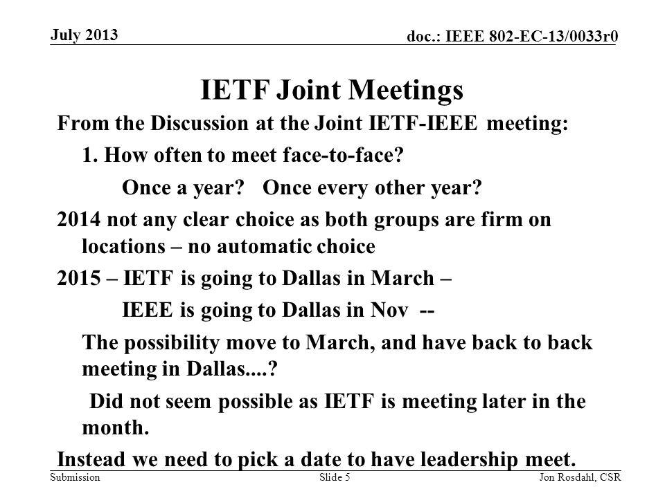 Submission doc.: IEEE 802-EC-13/0033r0July 2013 Jon Rosdahl, CSRSlide 16 References Future Venue Contract status: https://mentor.ieee.org/802-ec/dcn/12/ec-12-0040-04- 00EC-802-plenary-future-venue-contract-status.xlsx