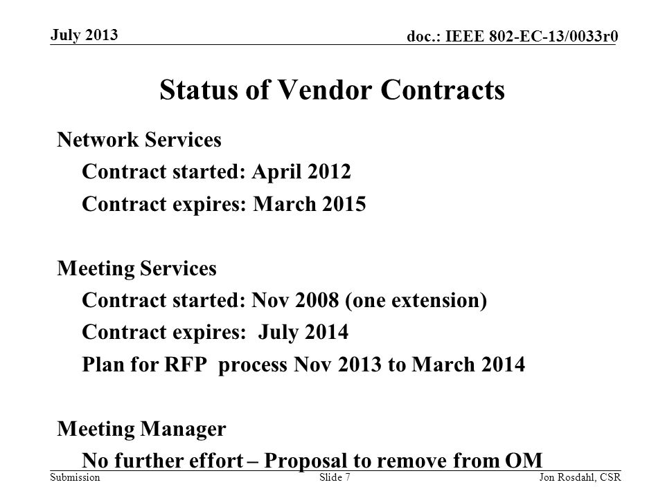 Submission doc.: IEEE 802-EC-13/0033r0 5.18 II Geneva 2013 Expectation What to expect.