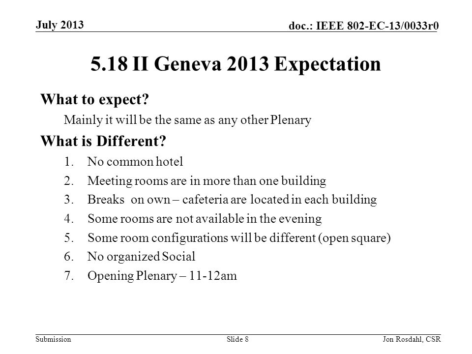 Submission doc.: IEEE 802-EC-13/0033r0 Geneva Expectations (cont) Monday, Tuesday, Wednesday and Thursday : Meetings in CICG and CCV must end before 6:30pm (18:30) Please leave buildings promptly.
