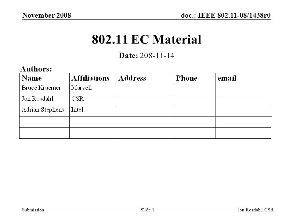 doc.: IEEE /1438r0 Submission November 2008 Jon Rosdahl, CSRSlide EC Material Date: Authors: