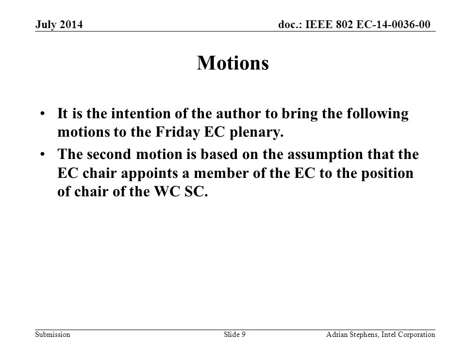 doc.: IEEE 802 EC-14-0036-00 Submission Motions It is the intention of the author to bring the following motions to the Friday EC plenary.