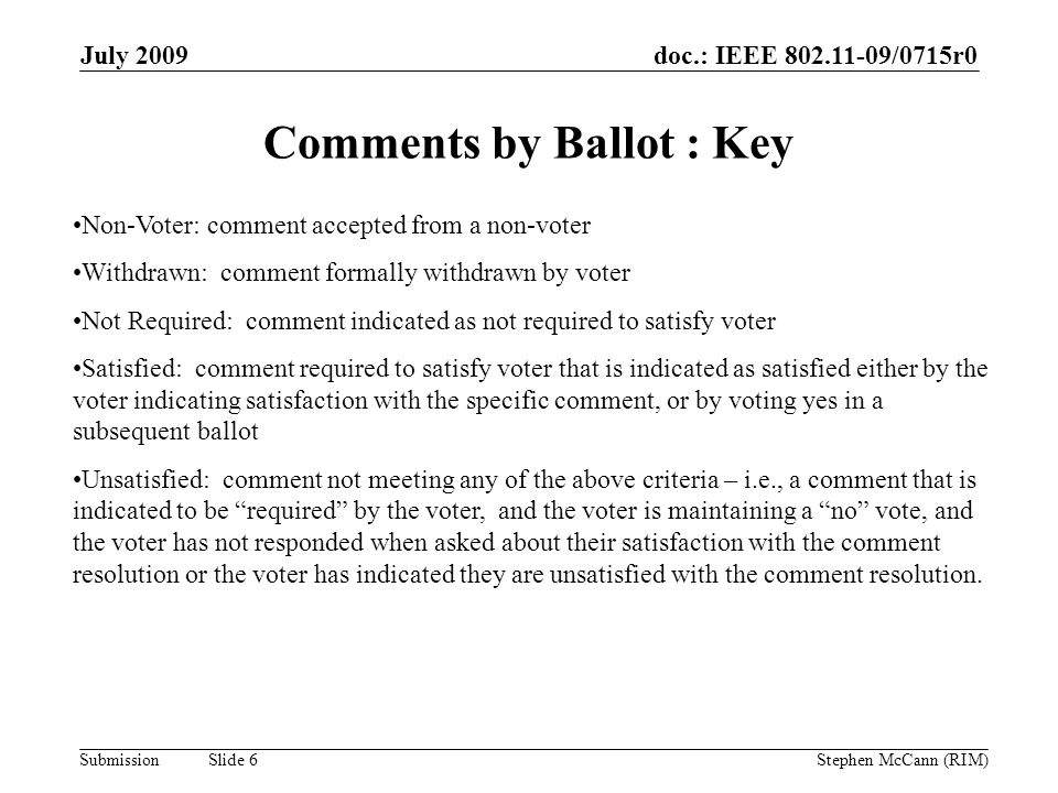 doc.: IEEE 802.11-09/0715r0 Submission July 2009 Stephen McCann (RIM) Slide 6 Comments by Ballot : Key Non-Voter: comment accepted from a non-voter Wi