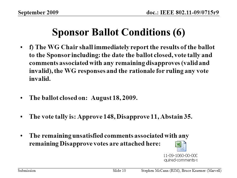 doc.: IEEE 802.11-09/0715r9 Submission September 2009 Stephen McCann (RIM), Bruce Kraemer (Marvell) Sponsor Ballot Conditions (6) f) The WG Chair shal