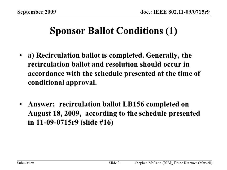 doc.: IEEE 802.11-09/0715r9 Submission September 2009 Stephen McCann (RIM), Bruce Kraemer (Marvell) Sponsor Ballot Conditions (1) a) Recirculation bal
