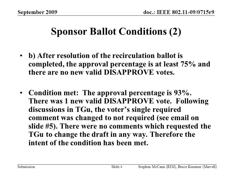 doc.: IEEE 802.11-09/0715r9 Submission September 2009 Stephen McCann (RIM), Bruce Kraemer (Marvell) Sponsor Ballot Conditions (2) b) After resolution