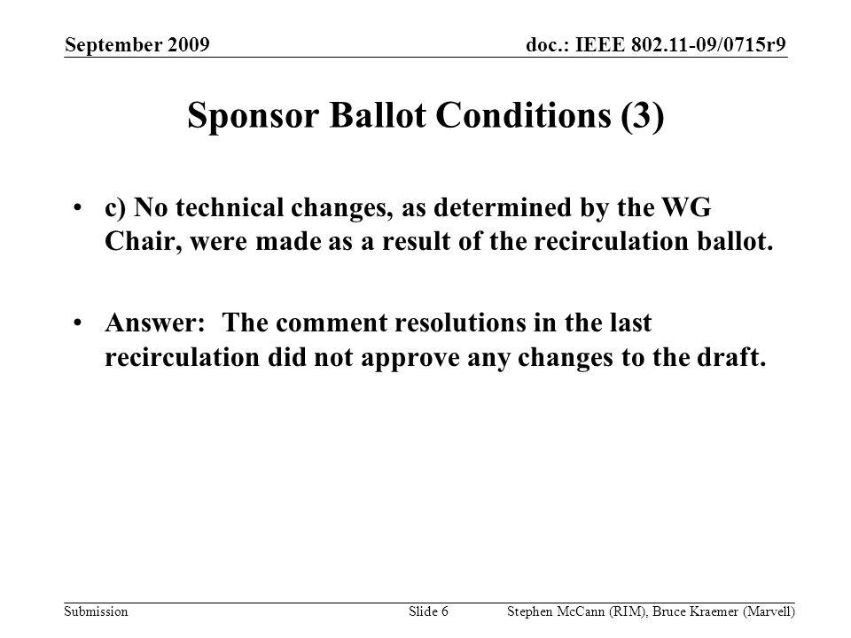 doc.: IEEE 802.11-09/0715r9 Submission September 2009 Stephen McCann (RIM), Bruce Kraemer (Marvell) Sponsor Ballot Conditions (3) c) No technical chan