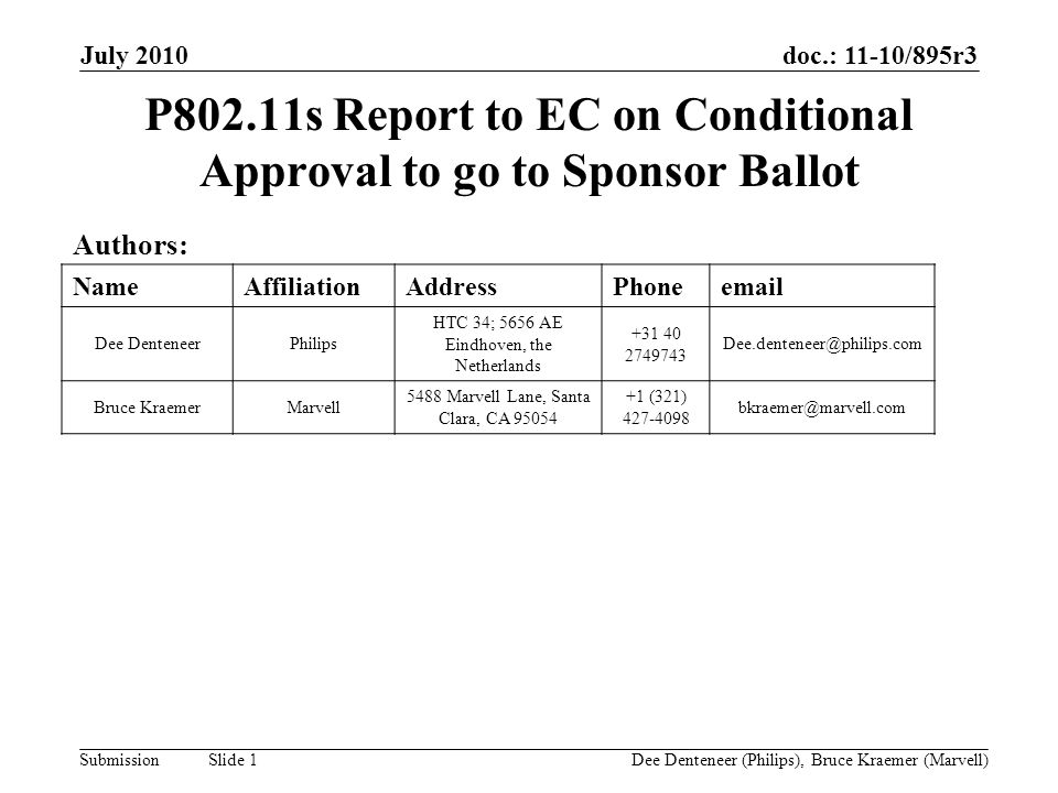 doc.: 11-10/895r3 Submission July 2010 Dee Denteneer (Philips), Bruce Kraemer (Marvell) Slide 1 P802.11s Report to EC on Conditional Approval to go to