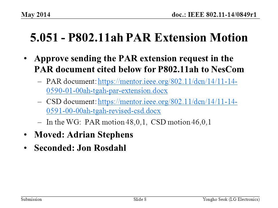 doc.: IEEE 802.11-14/0849r1 Submission Approve sending the PAR extension request in the PAR document cited below for P802.11ah to NesCom –PAR document