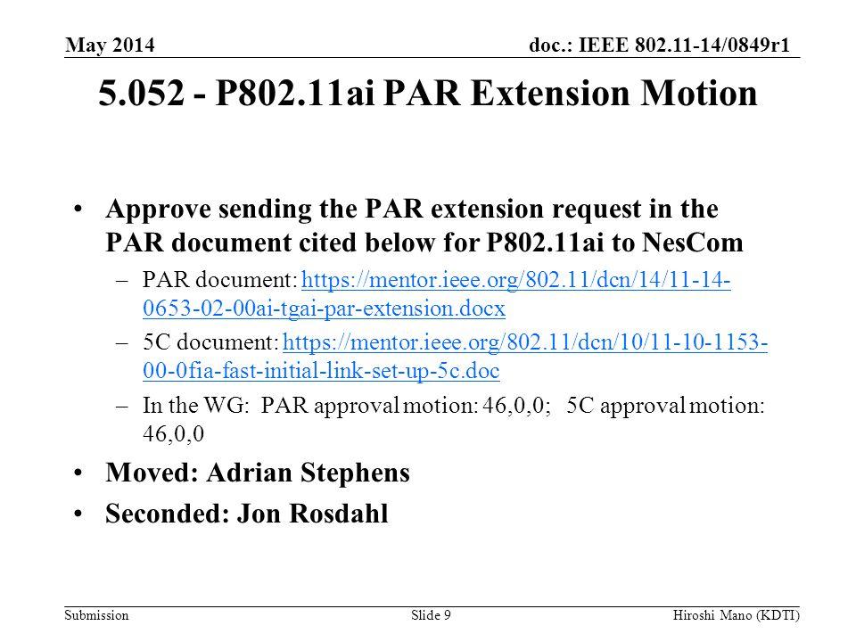 doc.: IEEE 802.11-14/0849r1 Submission 5.052 - P802.11ai PAR Extension Motion Approve sending the PAR extension request in the PAR document cited belo