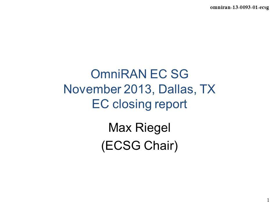 omniran-13-0093-01-ecsg 1 OmniRAN EC SG November 2013, Dallas, TX EC closing report Max Riegel (ECSG Chair)