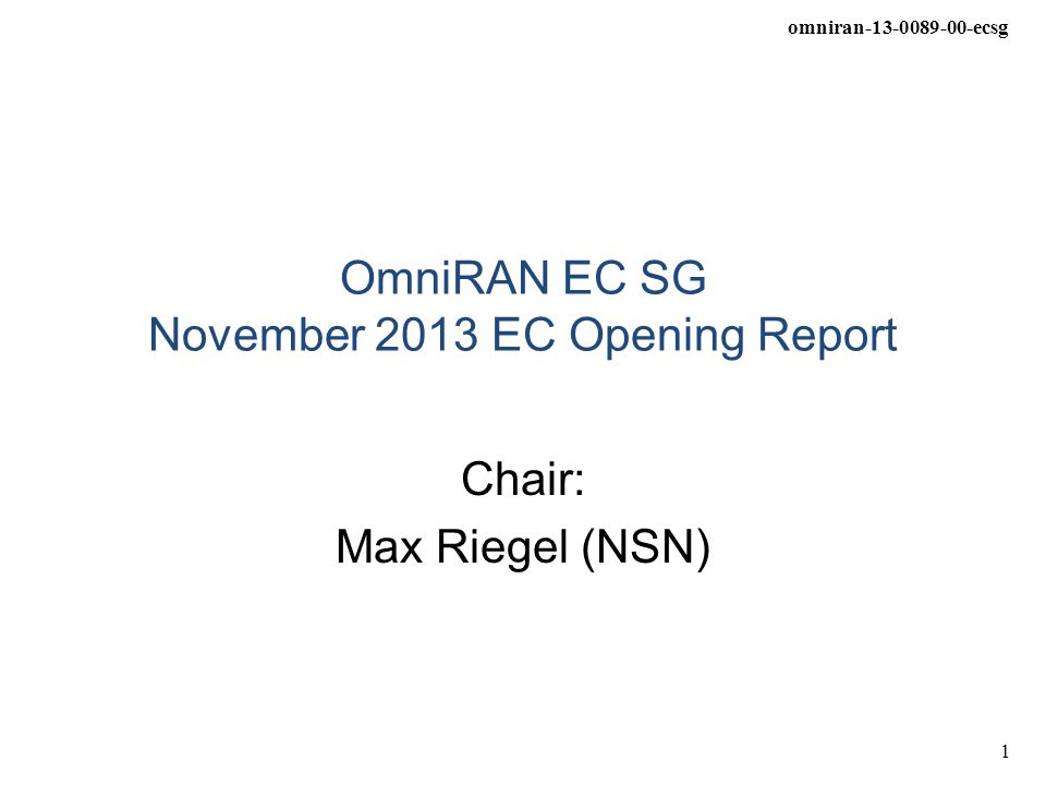omniran-13-0089-00-ecsg 2 OmniRAN EC SG Status and Objectives OmniRAN EC SG submitted PAR proposal on 'Recommended Practice for Network Reference Model and Functional Description of IEEE 802 Access Network' on October 10 th for consideration in the November plenary meeting –https://mentor.ieee.org/omniran/dcn/13/omniran-13-0086-00-ecsg- proposed-par-and-5c.docxhttps://mentor.ieee.org/omniran/dcn/13/omniran-13-0086-00-ecsg- proposed-par-and-5c.docx –PAR proposal creation outlined on next slide It is proposed to run the project within 802.1 WG –No conclusion yet, how this would/should work within 802.1 WG –Technical discussions took place between OmniRAN EC SG and 802.1 (Security TG) in the September interim OmniRAN EC SG will review comments on PAR proposal and will submit final proposal for the EC closing plenary.