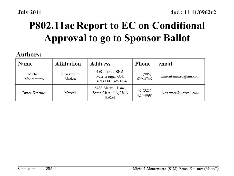 doc.: 11-11/0962r2 Submission July 2011 Michael Montemurro (RIM), Bruce Kraemer (Marvell) Slide 1 P802.11ae Report to EC on Conditional Approval to go to Sponsor Ballot Authors: NameAffiliationAddressPhoneemail Michael Montemurro Research in Motion 4501 Tahoe Blvd, Mississauga, ON.