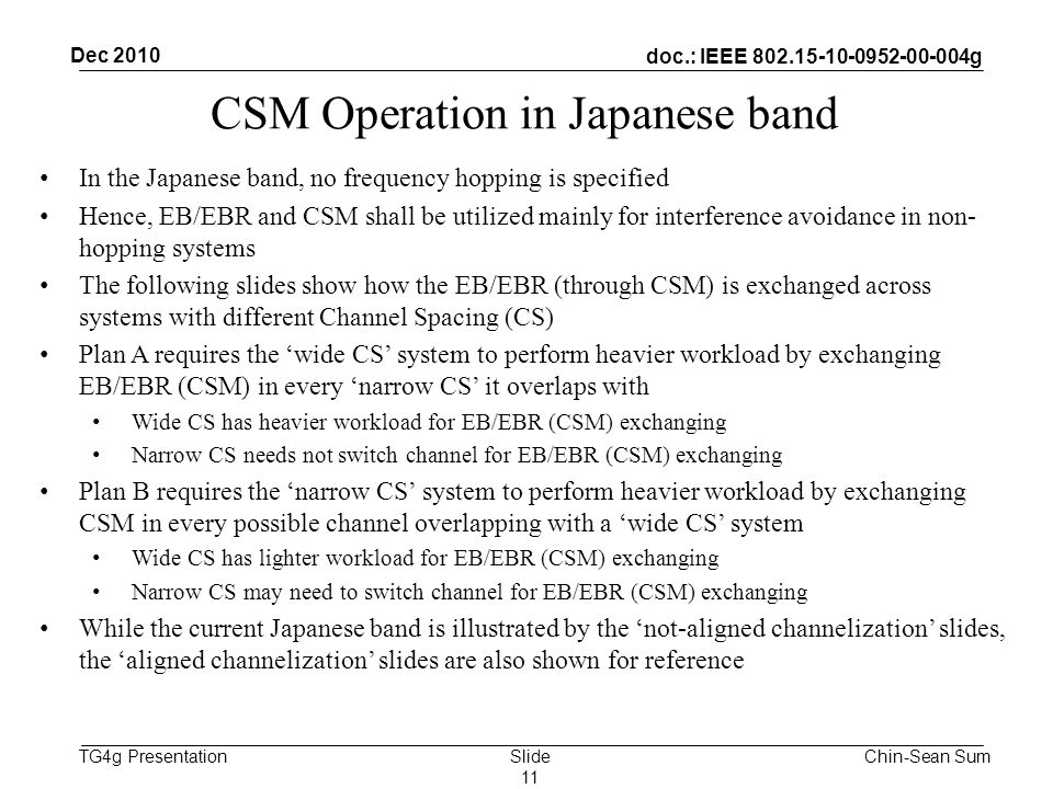 doc.: IEEE g TG4g Presentation CSM Operation in Japanese band In the Japanese band, no frequency hopping is specified Hence, EB/EBR and CSM shall be utilized mainly for interference avoidance in non- hopping systems The following slides show how the EB/EBR (through CSM) is exchanged across systems with different Channel Spacing (CS) Plan A requires the 'wide CS' system to perform heavier workload by exchanging EB/EBR (CSM) in every 'narrow CS' it overlaps with Wide CS has heavier workload for EB/EBR (CSM) exchanging Narrow CS needs not switch channel for EB/EBR (CSM) exchanging Plan B requires the 'narrow CS' system to perform heavier workload by exchanging CSM in every possible channel overlapping with a 'wide CS' system Wide CS has lighter workload for EB/EBR (CSM) exchanging Narrow CS may need to switch channel for EB/EBR (CSM) exchanging While the current Japanese band is illustrated by the 'not-aligned channelization' slides, the 'aligned channelization' slides are also shown for reference Chin-Sean Sum Dec 2010 Slide 11