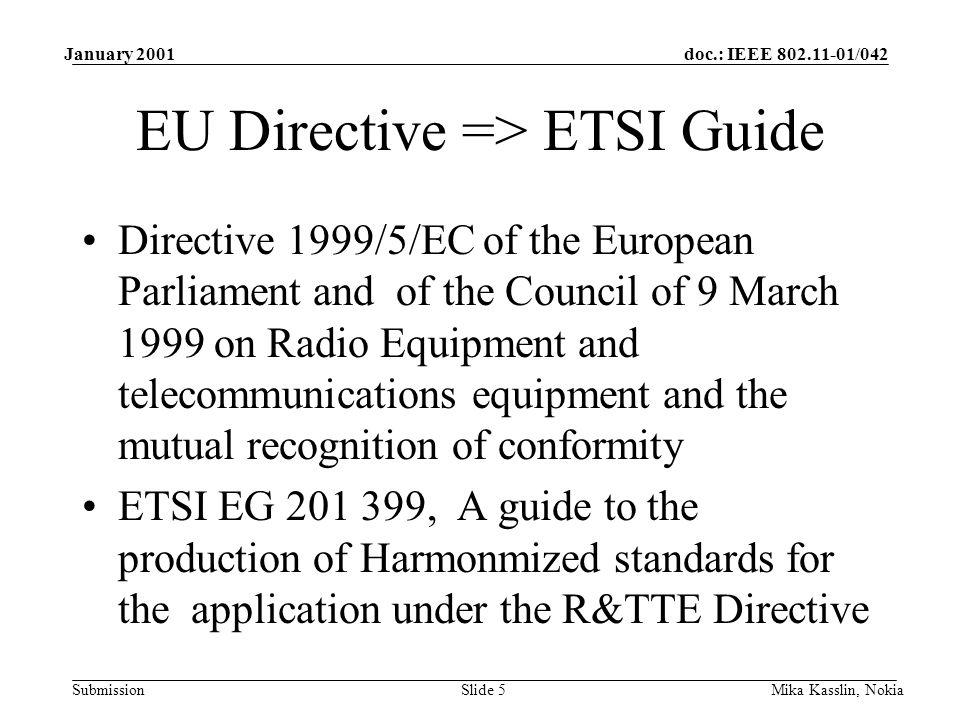 doc.: IEEE 802.11-01/042 Submission January 2001 Mika Kasslin, NokiaSlide 6 ETSI Guide => Harmonized EN ETSI BRAN has produced a Candidate Harmonized standard => intended to become a Harmonized Standard