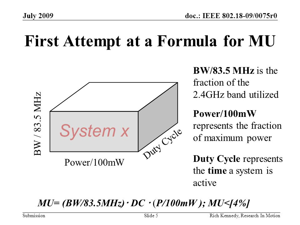 doc.: IEEE 802.18-09/0075r0 Submission First Attempt at a Formula for MU July 2009 Rich Kennedy, Research In MotionSlide 5 BW / 83.5 MHz Duty Cycle Power/100mW MU= (BW/83.5MHz)  DC  (P/100mW ); MU<[4%] Duty Cycle represents the time a system is active BW/83.5 MHz is the fraction of the 2.4GHz band utilized Power/100mW represents the fraction of maximum power