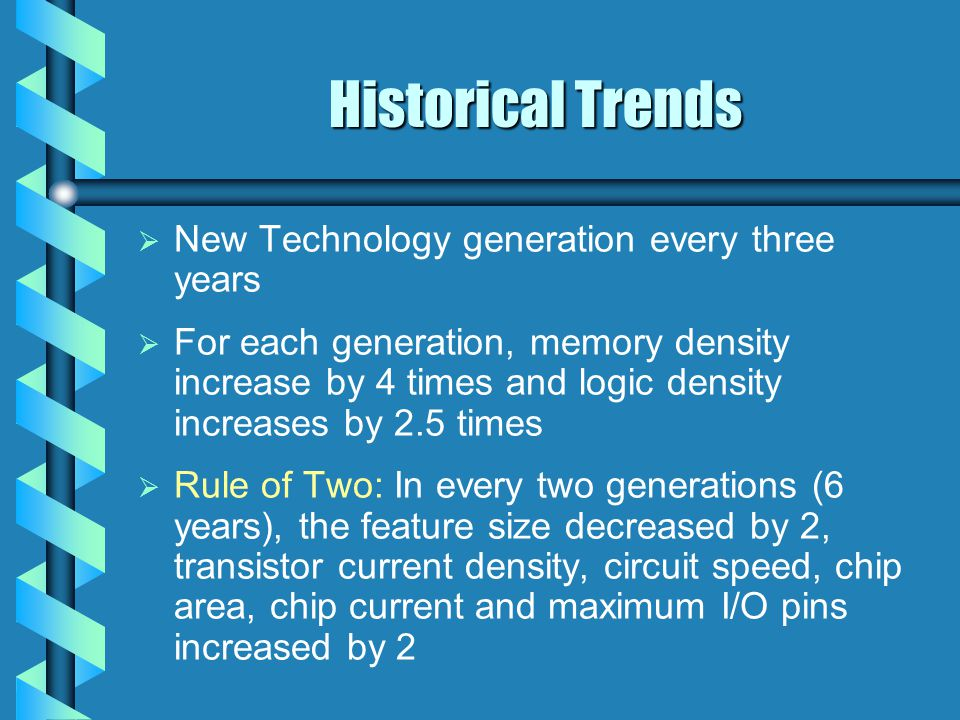 Historical Trends   New Technology generation every three years   For each generation, memory density increase by 4 times and logic density increases by 2.5 times   Rule of Two: In every two generations (6 years), the feature size decreased by 2, transistor current density, circuit speed, chip area, chip current and maximum I/O pins increased by 2
