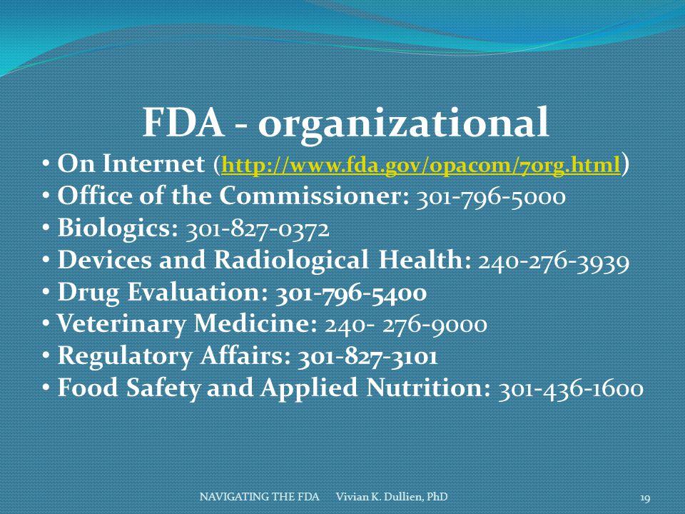NAVIGATING THE FDA Vivian K. Dullien, PhD FDA - organizational On Internet (http://www.fda.gov/opacom/7org.html )http://www.fda.gov/opacom/7org.html O