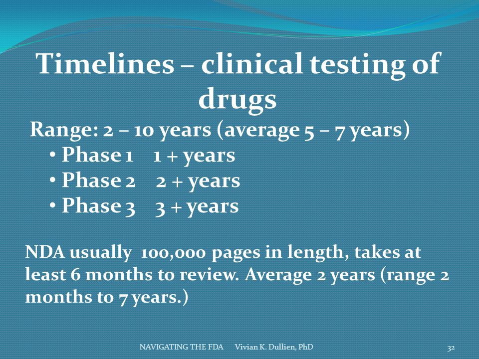 NAVIGATING THE FDA Vivian K. Dullien, PhD Timelines – clinical testing of drugs Range: 2 – 10 years (average 5 – 7 years) Phase 1 1 + years Phase 2 2