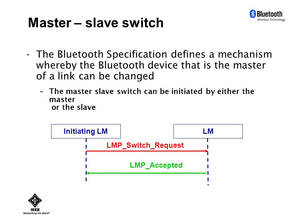 Master – slave switch The Bluetooth Specification defines a mechanism whereby the Bluetooth device that is the master of a link can be changed –The master slave switch can be initiated by either the master or the slave Initiating LMLM LMP_Switch_Request LMP_Accepted