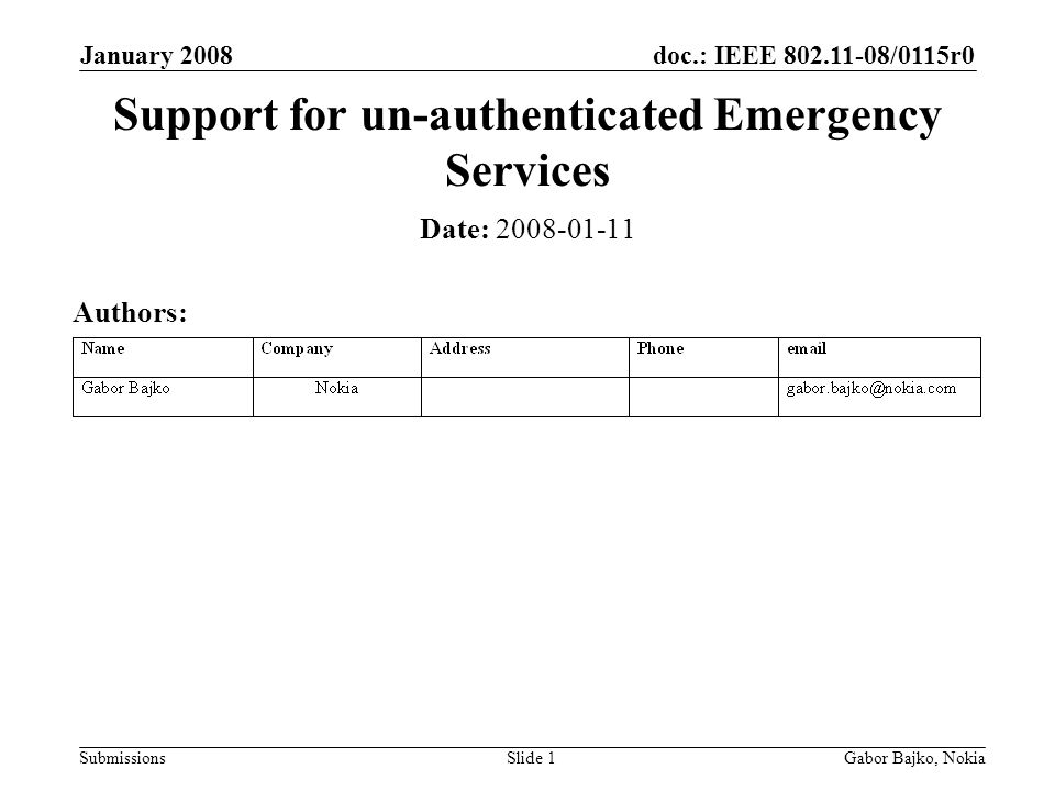 doc.: IEEE 802.11-08/0115r0 Submissions January 2008 Gabor Bajko, NokiaSlide 1 Support for un-authenticated Emergency Services Date: 2008-01-11 Author