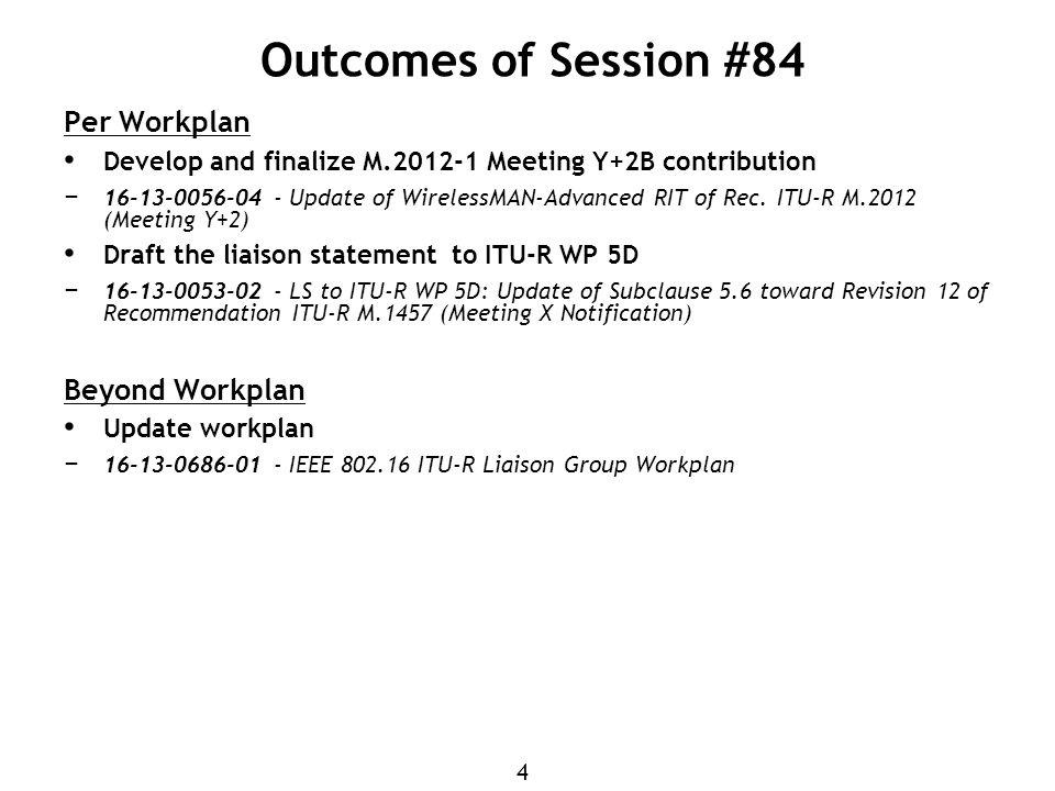4 Outcomes of Session #84 Per Workplan Develop and finalize M Meeting Y+2B contribution − Update of WirelessMAN-Advanced RIT of Rec.