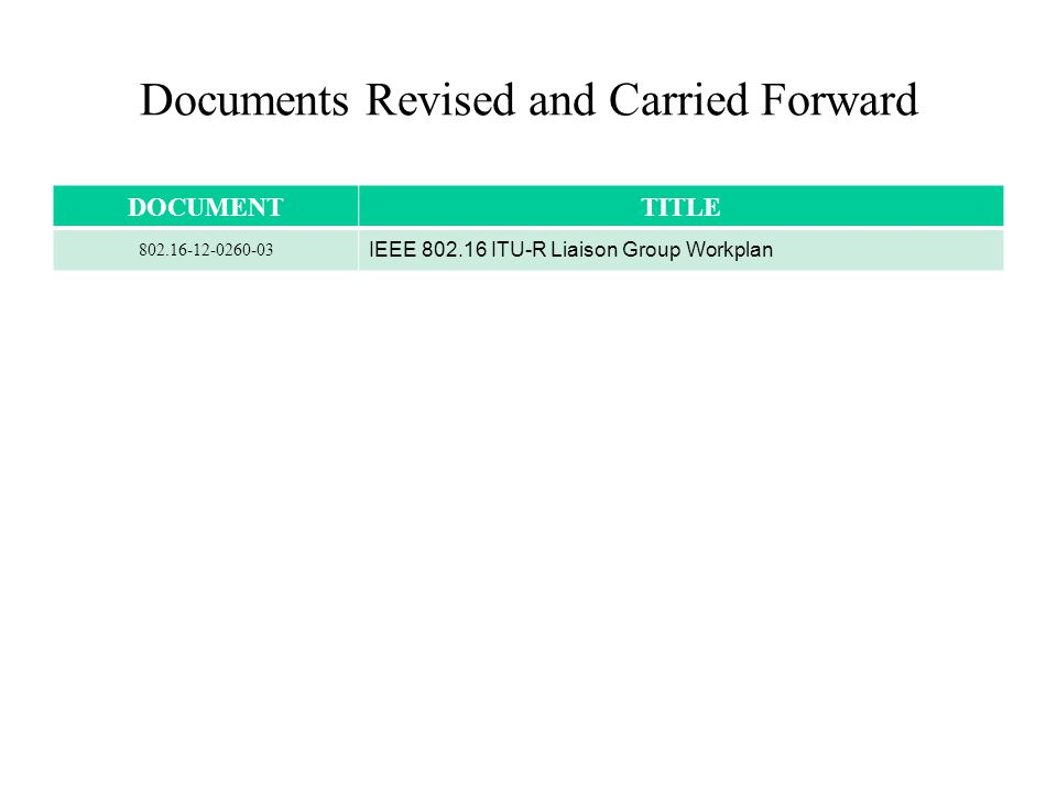 Documents Revised and Carried Forward DOCUMENTTITLE 802.16-12-0260-03 IEEE 802.16 ITU-R Liaison Group Workplan