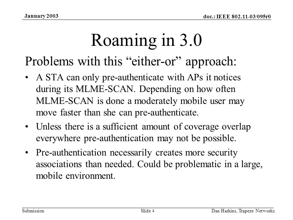 doc.: IEEE 802.11-03/095r0 Submission January 2003 Dan Harkins, Trapeze Networks.Slide 4 Roaming in 3.0 Problems with this either-or approach: A STA can only pre-authenticate with APs it notices during its MLME-SCAN.