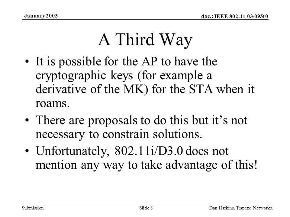 doc.: IEEE 802.11-03/095r0 Submission January 2003 Dan Harkins, Trapeze Networks.Slide 5 A Third Way It is possible for the AP to have the cryptographic keys (for example a derivative of the MK) for the STA when it roams.