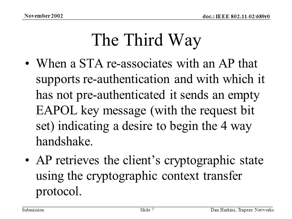 doc.: IEEE 802.11-02/689r0 Submission November 2002 Dan Harkins, Trapeze Networks.Slide 7 The Third Way When a STA re-associates with an AP that suppo