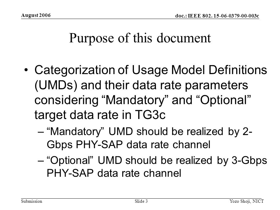 doc.: IEEE 802. 15-06-0379-00-003c Submission August 2006 Yozo Shoji, NICTSlide 3 Purpose of this document Categorization of Usage Model Definitions (