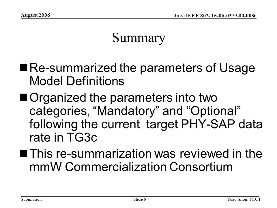 doc.: IEEE 802. 15-06-0379-00-003c Submission August 2006 Yozo Shoji, NICTSlide 9 Summary Re-summarized the parameters of Usage Model Definitions Orga