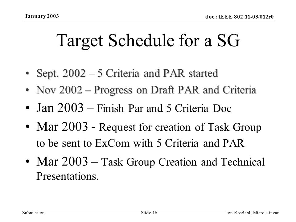 doc.: IEEE 802.11-03/012r0 Submission January 2003 Jon Rosdahl, Micro LinearSlide 16 Target Schedule for a SG Sept.