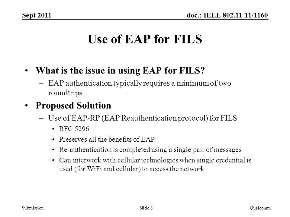 doc.: IEEE 802.11-11/1160 Submission Overview of EAP-RP Sept 2011 QualcommSlide 6 STAAuth1 Full EAP Method Exchange Auth2 MSK, EMSK rRK, rIK AS MSK, EMSK rRK, rIK EAP Success (MSK) EAP Success Initial EAP Exchange MSK EAP Req/Identity EAP Resp/Identity EAP Re-auth Initiate (authenticated with rIK) EAP Re-auth Finish (authenticated with rIK) rMSK EAP-RP Exchange (rMSK) rMSK EAP Re-auth Finish (authenticated with rIK)