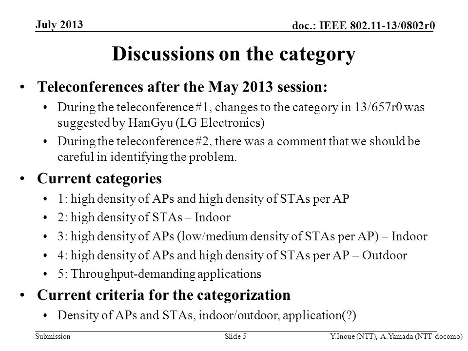 Submission doc.: IEEE 802.11-13/0802r0 Out of scope (?) Category #3 Category #2 July 2013 Y.Inoue (NTT), A.Yamada (NTT docomo)Slide 6 Observations on current categories (1) For indoor usage models: High AP density and high STA density area is covered by three categories (Category #1, #2, #3) There are similar use cases.