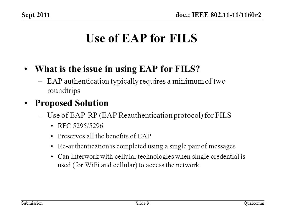 doc.: IEEE 802.11-11/1160r2 Submission Use of EAP for FILS What is the issue in using EAP for FILS? –EAP authentication typically requires a minimum o