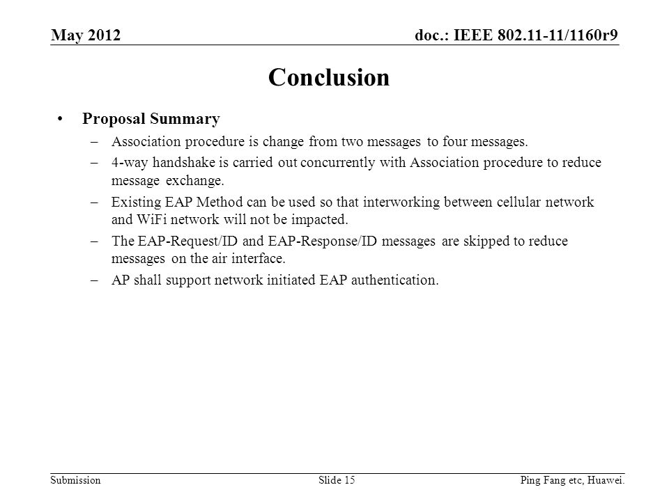 doc.: IEEE /1160r9 Submission Conclusion Proposal Summary –Association procedure is change from two messages to four messages.