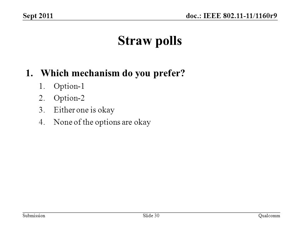 doc.: IEEE /1160r9 Submission Straw polls 1.Which mechanism do you prefer.