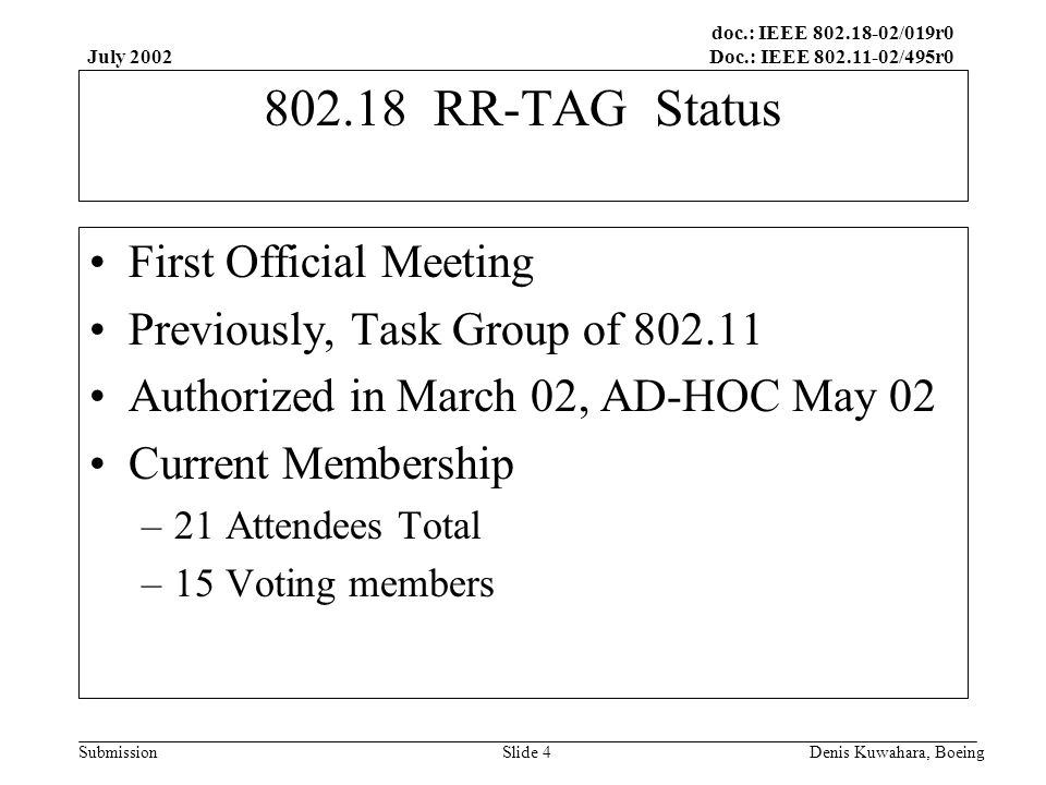 doc.: IEEE 802.18-02/019r0 Doc.: IEEE 802.11-02/495r0 Submission July 2002 Denis Kuwahara, BoeingSlide 5 802.18 RR-TAG Accomplishments Created RR-TAG Charter Proposal of TAG Rules Changes Comment on FCC Spectrum Policy TF ET 02-135 Respond to ARRL comments ET 98-156 Comment on WAC text WRC-03 AI 1.5 –WRC-03 Advisory Committee CITEL document delayed